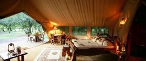 Vista de uno de las tiendas del campamento Il Moran en la reserva del masai mara.
