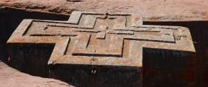Vista desde arriba de la iglesia de San Jorge en Etiopía.
