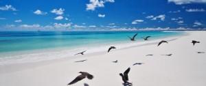 Vista de una de las playas de Bird Island en Seychelles