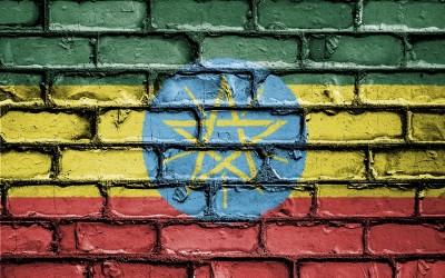 Bandera pintada en pared de Etiopía